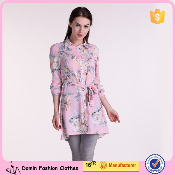 New Design Women Clothing Manufacturer Causal Lastest Fashion Printed Blouse