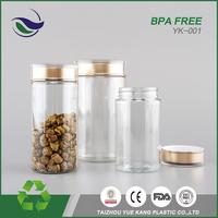 wholesale best price wide golden cap mouth bottle pet plastic glass bpa free cookie candy jam food storage jar