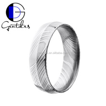 Gentdes Jewelry Middle Saddle-backing Design Damascus Ring , 6mm Silver Damascus Wedding Ring