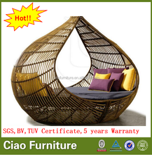 Latest design daybed with canopy rattan sofa bed garden patio furniture