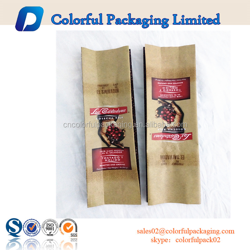 1Ib/454g side gusset roasted and ground coffee packaging bag/Coffee bag with degassing valve