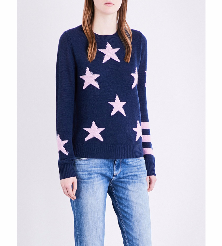Jacquard star women cashmere merino wool sweater jumper