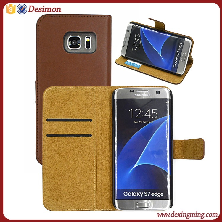 2016 cellular accessories S7 case genuine leather, flip case for samsung s7
