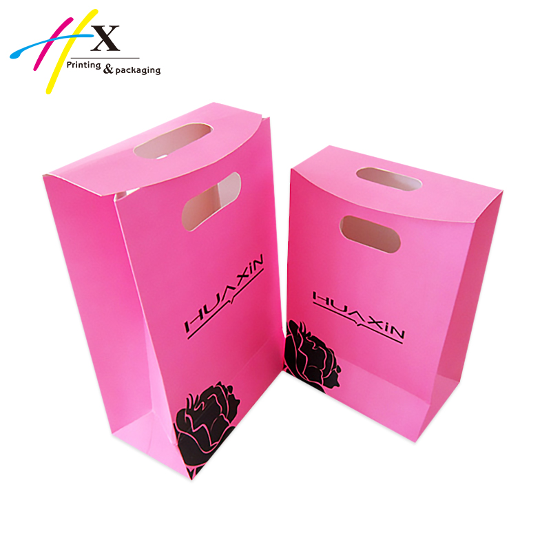 shop customised packaging pink paper gift bag with logo