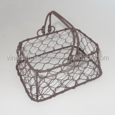 Mini decor chicken wire mesh gift basket with handle