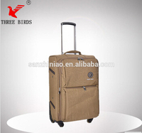 Three birds 2014 new fashion nylon material scilent universal wheel aluminum travel bags for man and women 20#'24#28#