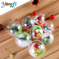 Outdoor Christmas Decoration Acrylic Hollow Clear Transparent 2 Part Plastic Ball