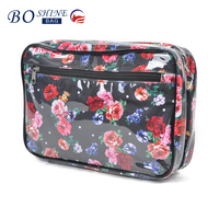 Flower Printed PVC eco beauty cosmetic bag for women