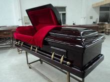 Magistrate Red solid wood casket coffin American style caskets for dead female bodies