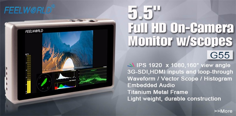 G55 Portable dslr hdmi monitor with 5.5 inch Full HD 1920x1080 IPS lcd panel