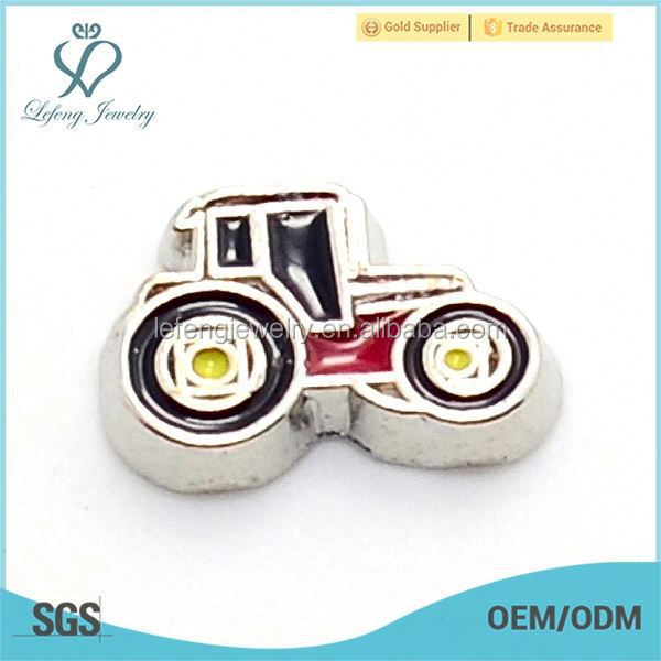 Hot selling zinc alloy cute enamel black&red tractor floating charms jewelry