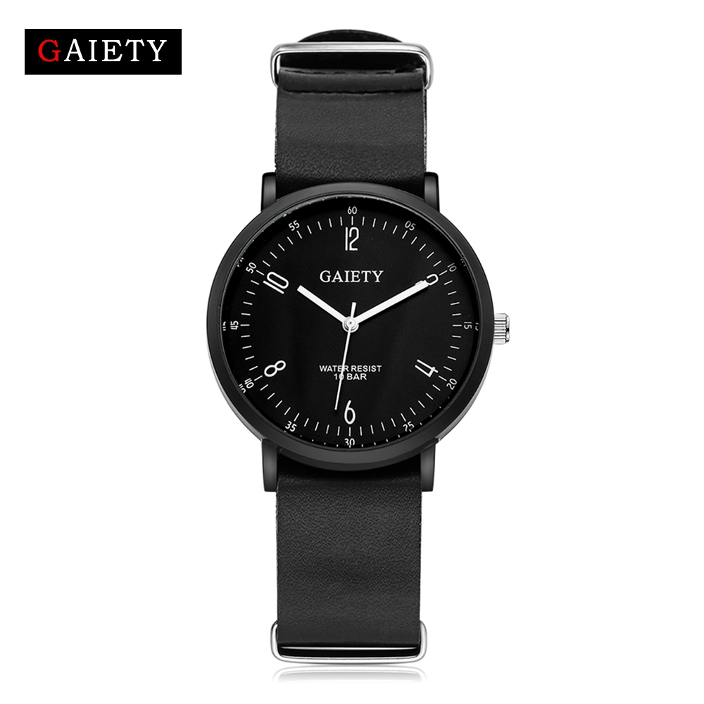 Gaiety Black Men Watches Luxury Bracelet Dress Watch Leather High Quality Man Quartz Luxury Fashion Watch Men
