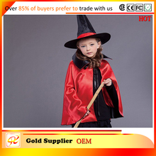 Halloween Costumes Wizard Stars Fancy Cloak + Witch Hat + Stereo Pumpkin Bag for Children Boy Girl