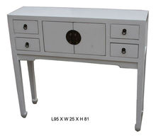 Chinese antique white wooden alter table with drawers