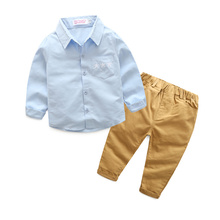 Popular style kid fashion 2017 clothing boys clothes sets pentagram printed kids clothing sets blouse and brown pants