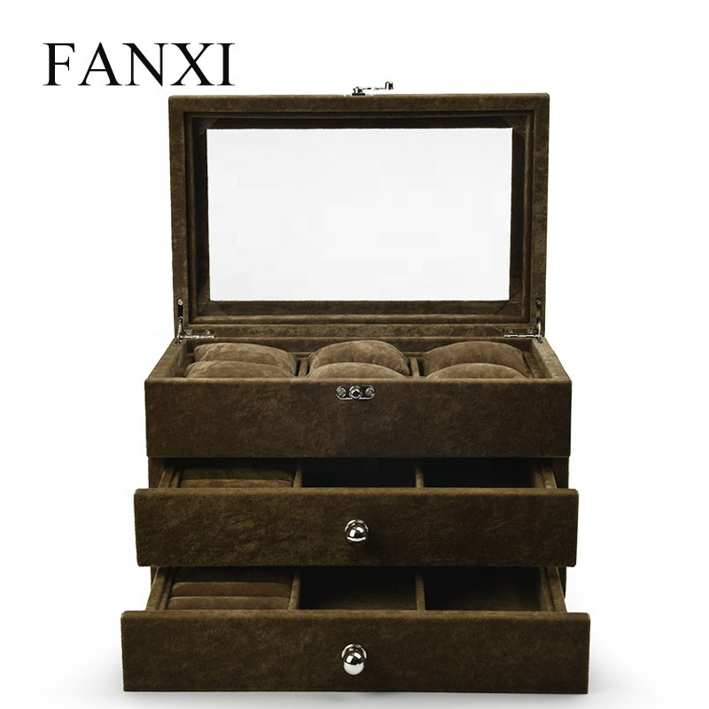 FANXI Wholesale Jewelry Display Jewellery Storage Drawer Type Coffee Color Outside Ice Velvet Wooden Jewelry organizer