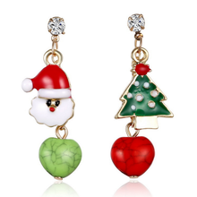 Top selling amazon gold plated cheap snowman pendant with Christmas tree jewelry kids earring