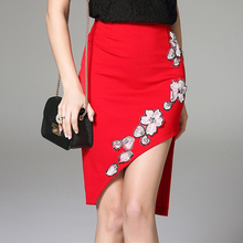 2016 Fashion Women Crystal Bead Applique Work Design Skirts Sexy Irregular Hem High Waist Slim Black Red Summer Skirt