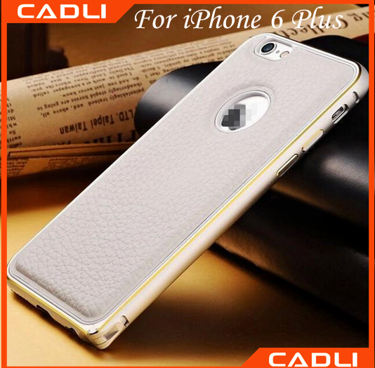 2016 New Created phone case private label camera magnetic aluminum frame and leather cover phone case for iphone 6 plus