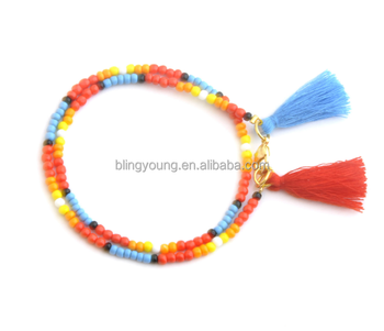 New type double layer colorful small beads tassel bracelet