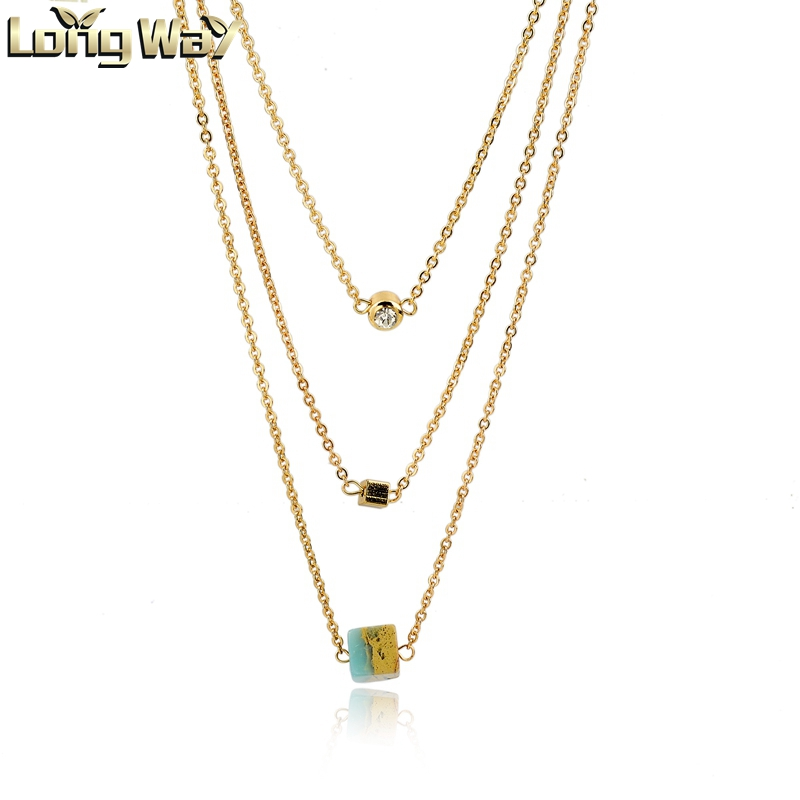 multi layer gold chain necklace with different