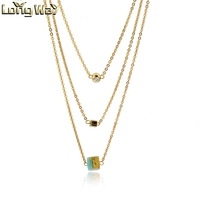 Hot Multi Layer Gold Chain Necklace with different Turquoise charm pendant