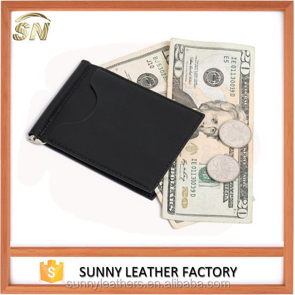Italian Vegetable Tanned Leather Men's Bifold Slim Leather Money Clip Wallets