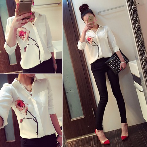 Ladies Formal Women's Fashion Lapel Collar OL Elegant Print Formal Chiffon Blouses SV024423