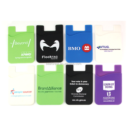 custom printing mobile sticky silicone smart wallet, 3m sticker cell phone silicone card holder