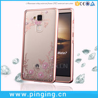 Secret garden diamond hard pc plastic transparent panel electroplate metal bumper smart cover case for huawei ascend mate 7