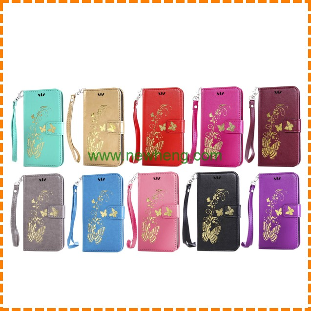 Fashion Bronzing Butterfly Wallet Style Magnetic Flip Stand TPU+ PU Leather case for iphone6 6s