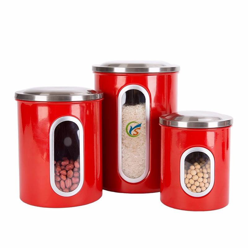 Set of 3 pcs Window Kitchen Canisters