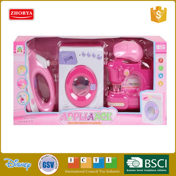 Girls home appliance toy 3 in 1 with Electric Washing Machine iron and sewing machine