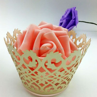 2015Teda ZB-010 Free Shipment Laser cut Pearl Ivory Paper Filigree Paper CupCake Wrappers cake decoration