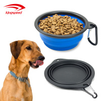 Premium food water feeding portable foldable Collapsible travel pet bowl with free carabiner
