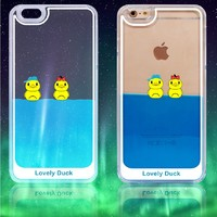 3D Clear Dynamic Liquid Lovely Rubber Duck Swimming Duck Back Case Cover For iPhone 5