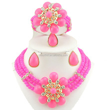 Pink color EJ08-1 african jewelry sets wedding beads cosmetic