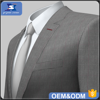 Eco-friendly Woven Men's suit fabric check polyester viscose spandex TR Suiting fabrics supplier