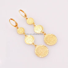 Islam Women Arabic Coins Money Gold Plated Long Drop Earrings Jewelry