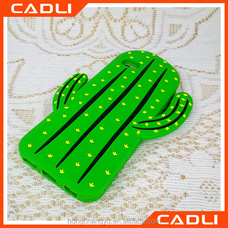 2016 3D cartoon cactus green leaf soft silicone cell phone case cover skin For Iphone 6 6s Plus