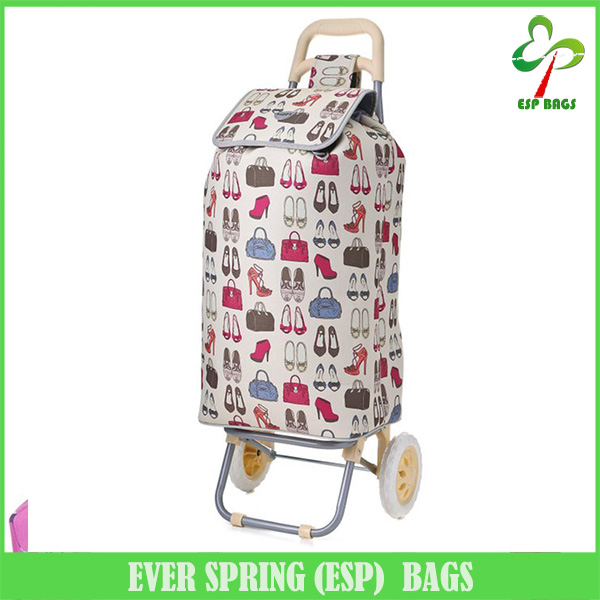 Functional spacious supermarket shopping bag trolley, portable foldable shopping bag with two wheels