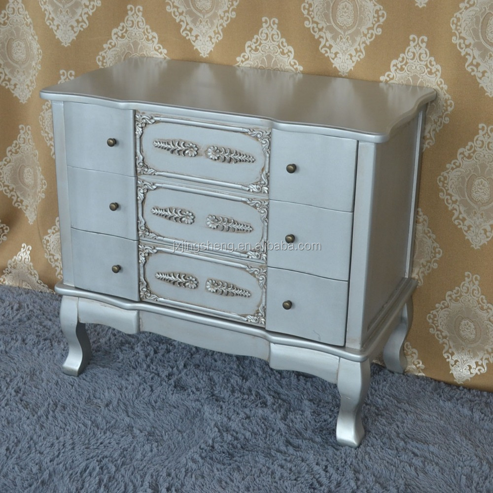 Latest living room furniture designs silver painted paulownia wood drawer cabinet