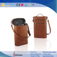 SA 8000 manufacture wholesale leather wine bottle bag ,wine glass carrying bag