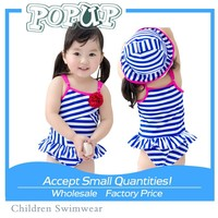 Wholesale Hot Blue and White Stripes Swimsuit 2015 Sweet Princess Kids Swimwear for Girls