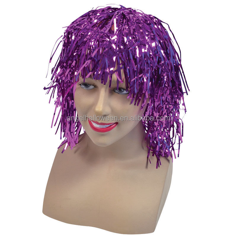 Fancy dress accessory hot sale tinsel wigs unisex party purple wig FW2313