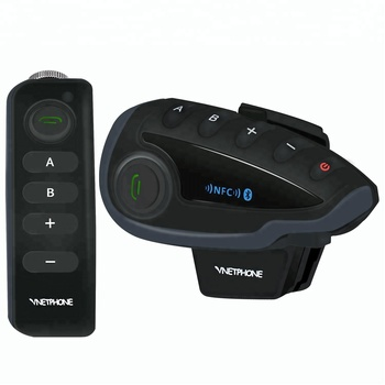 Full Duplex Remote Control Motorcycle Intercom with FM Radio NFC for 5 Riders V8