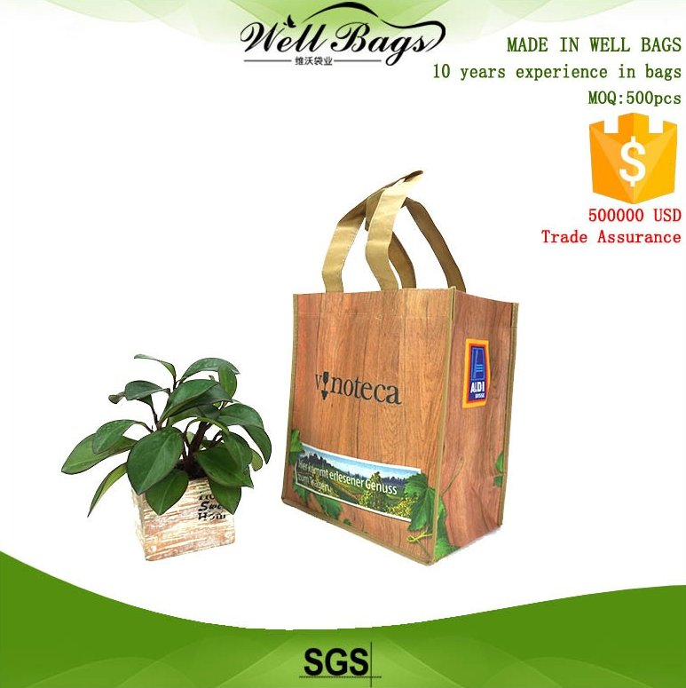 custom plank board wood grain offset print PP non woven 6 bottles wine reusable tote bag with velcro alibaba trade assurance