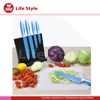 5 Pcs blue blade non-stick Knife set with black magnet stand