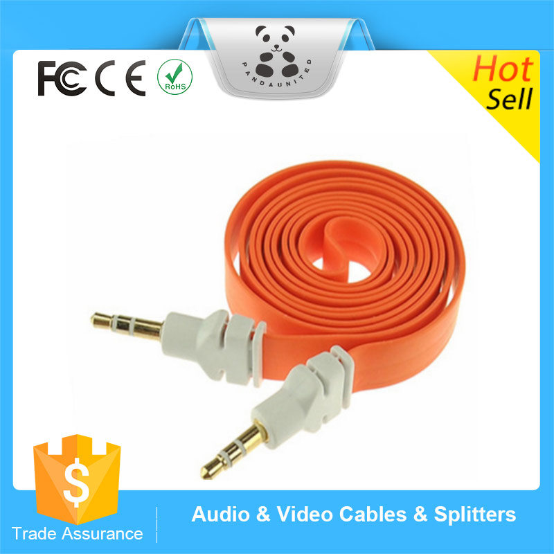 Popular Promotional Wide Flat Noodle Car Aux Audio Cable Extended Headphone Stereo Audio Cable