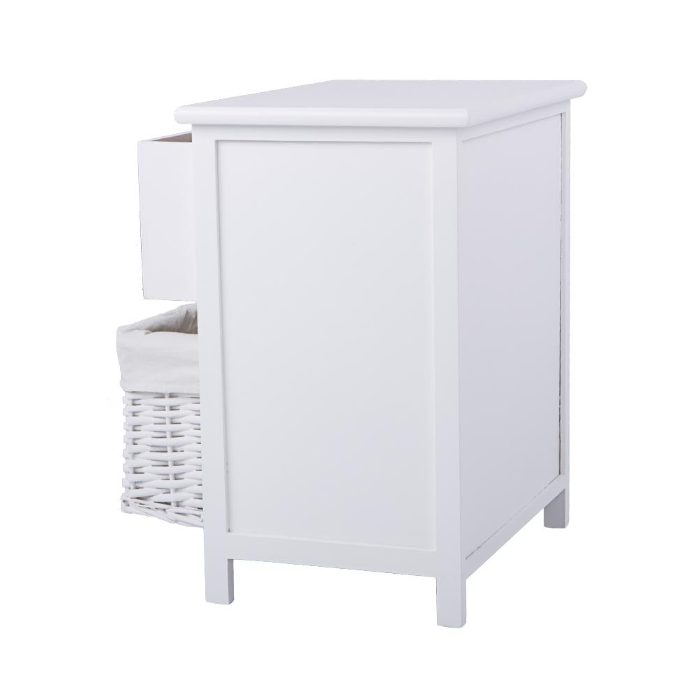 Meuble bas avec panier osier 2 white bedside table for Meuble bas avec panier osier